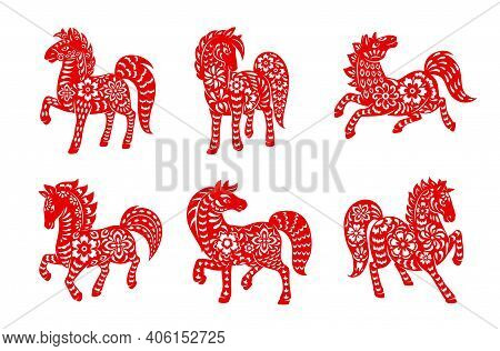 Chinese Zodiac Horse Animal Vector Icons Set. Equine Lunar New Year Of China Symbolic, Red Ornate ,