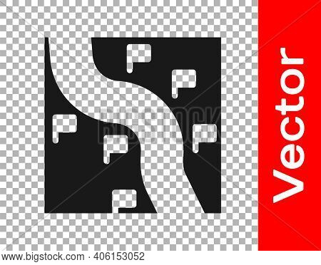 Black Route Location Icon Isolated On Transparent Background. Train Line Path Of Train Road Route Wi