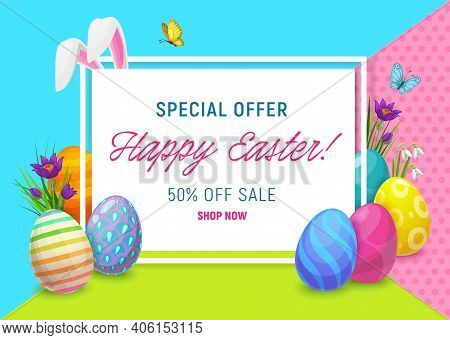 Easter Sale Offer Poster With Vector Eggs And Bunny Or Rabbit Ears, Spring Flowers And Green Grass B