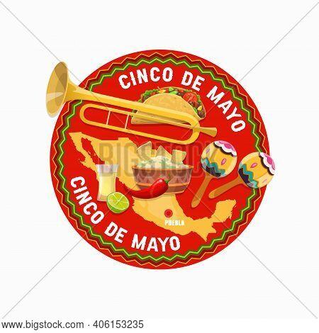 Cinco De Mayo Mexican Holiday Vector Food And Mexico Map. Fiesta Party Maracas, Tequila, Tacos, Guac