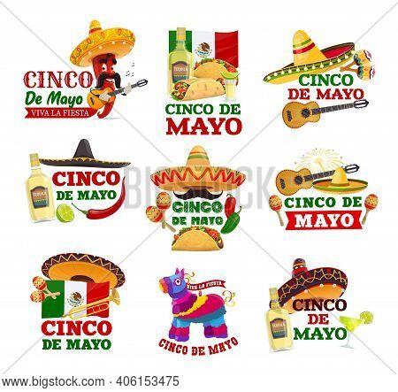 Cinco De Mayo And Viva Mexico Isolated Icons. Vector Fiesta Party Sombrereo Hats, Maracas, Mexican F