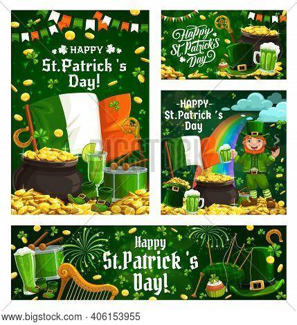 St Patrick Leprechaun With Gold And Shamrock Vector Design Of Irish Religion Holiday. Green Beer, Lu