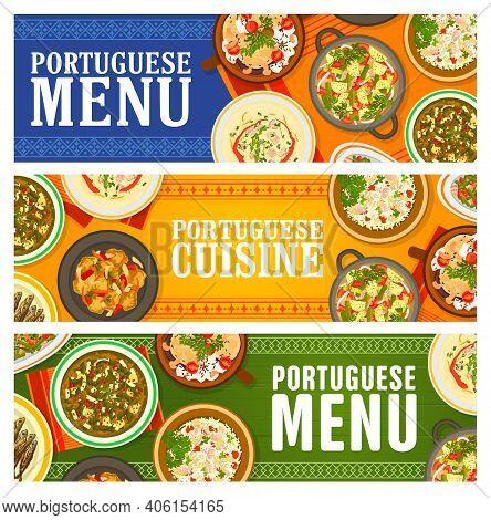 Portuguese Food Restaurant Menu Meals Banners. Grilled Sardines, Paella Mariscada And Pork Tenderloi