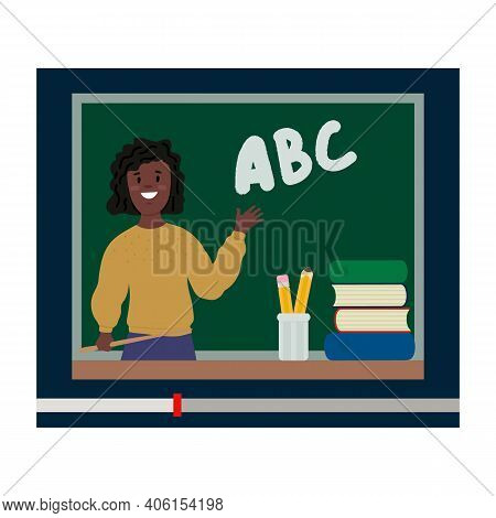 Online School. Video Of The Lesson With The Teacher. Teaching Students Online Video Lessons. Online