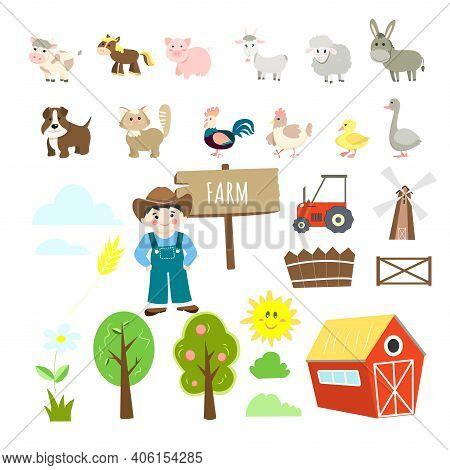 Farm Illustrations Set, Cute Animals - Cow, Pig, Horse, Goat, Donkey, Ram, Dog, Cat, Goose, Duckling