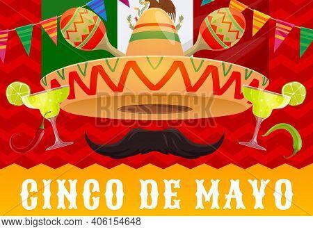 Cinco De Mayo Mexican Holiday Vector Sombrero Hat, Fiesta Party Maracas And Tequila, Mexico Flag, Re
