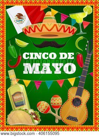 Cinco De Mayo Vector Traditional Mexican Symbols Sombrero Hat, Mustaches, Guitar And Tequila With Li