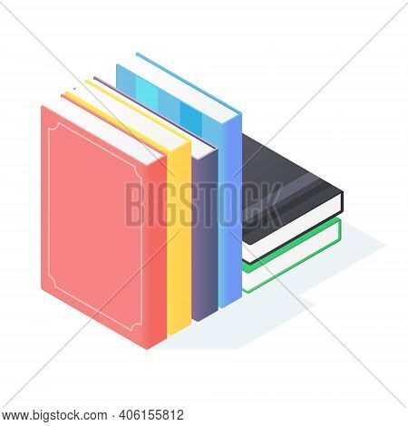 Books Stack Isometric. Pile Of Standing Paperback Literature With Hardcover.