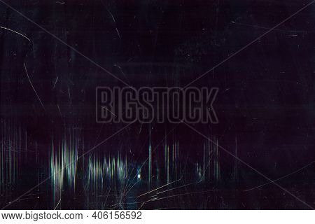Glitch Overlay. Dust Scratches Texture. Dark Distressed Shattered Damaged Faded Laptop Screen With S