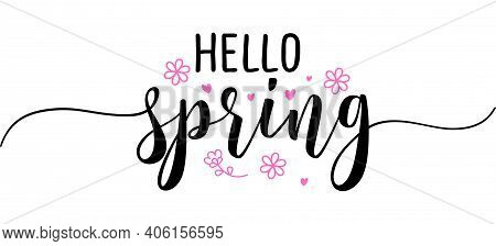 Hello Spring - Inspirational Welcome Spring Season Beautiful Handwritten Quote, Gift Tag, Lettering