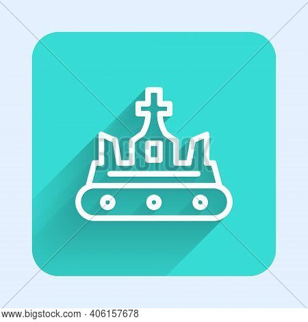 White Line British Crown Icon Isolated With Long Shadow. Green Square Button. Vector