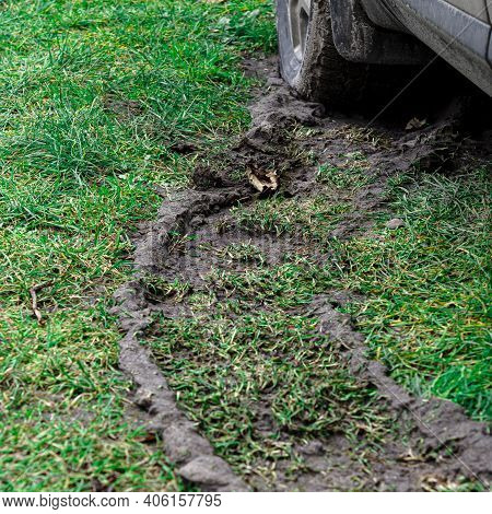 Dirty Trail From The Wheel Of The Car. Suv. Impassability.