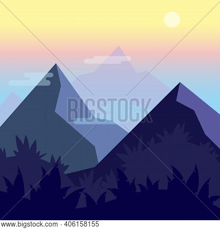 Mountains Peaks Night Scenic Vector Landscape. Flat Style Illustration Of Jungles, Hills, Mountains