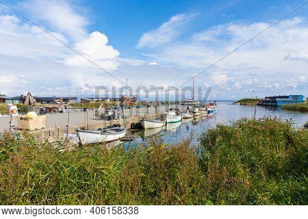 Old fishing harbor of Hvide Sande on Ringkøbing Fjord in Jutland, Denmark