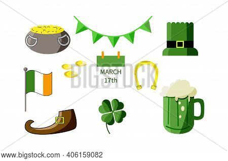 Stickers Set For Saint Patricks Day.  Collection Of Holiday Symbols Such As Pot Of Gold, Patrick's H