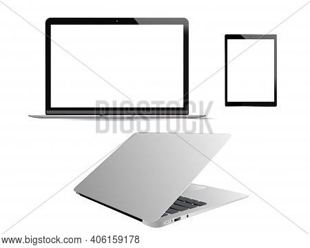 Laptop Vector Mockup. Computer Notebook Mobile Pc Isolated On White Background. Realistic Portable L