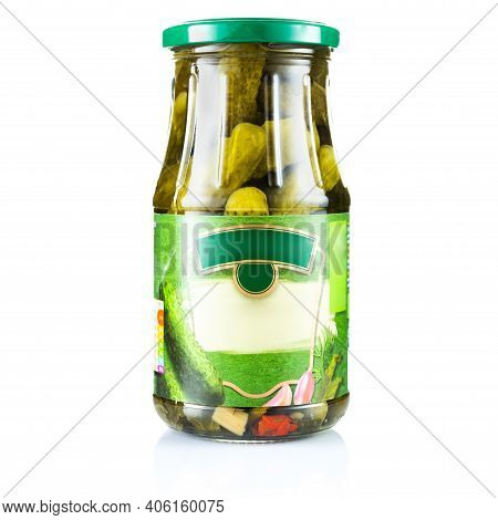 Pickled Cucumbers In A Glass Jar. Canned Cucumbers. Vegetables In A Jar.