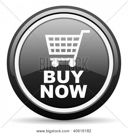buy now black glossy icon on white background