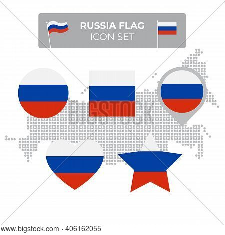 Russia Flag Icons Set In The Shape Of Square, Heart, Circle, Stars And Pointer, Map Marker. Mosaic M