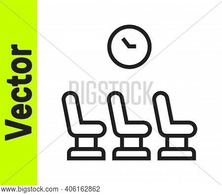 Black Line Waiting Room Icon Isolated On White Background. Vector
