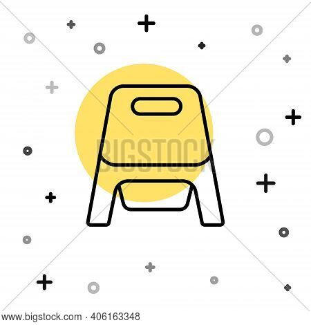 Black Line Baby Potty Icon Isolated On White Background. Chamber Pot. Random Dynamic Shapes. Vector