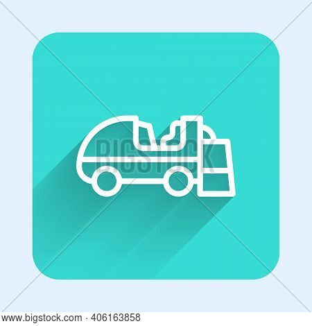 White Line Ice Resurfacer Icon Isolated With Long Shadow. Ice Resurfacing Machine On Rink. Cleaner F