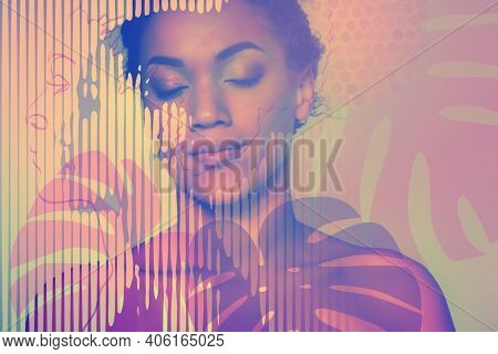 Portrait of young beautiful african american woman meditates or dreams, digital drawing is ideal for poster, design element, cover