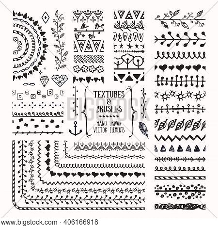Hand Drawn Vector Brushes And Textures. Artistic Collections Of Design Elements, Flowers, Brunches,