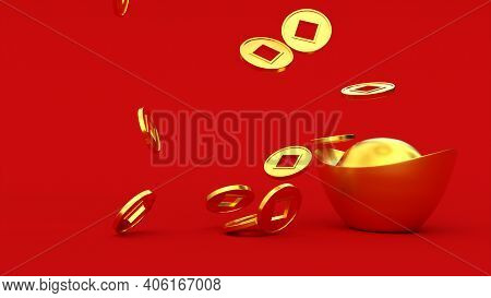 Falling Chinese Lucky Golden 3d Coins On The Ingot. Red Color Background. Happy Chinese New Year. 3d