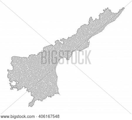 Polygonal Mesh Map Of Andhra Pradesh State In High Detail Resolution. Mesh Lines, Triangles And Dots
