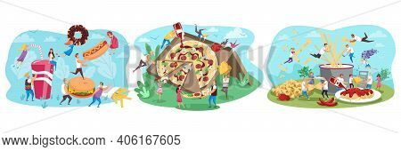 Fastfood, People, Food Set Concept. Collection Of Men Women Cartoon Characters Flying Eating Junk Me