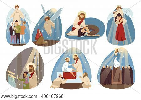 Religion, Bible, Christianity Set Concept. Collection Angle Jesus Chrsit Son Of God Mary Virgin Reli