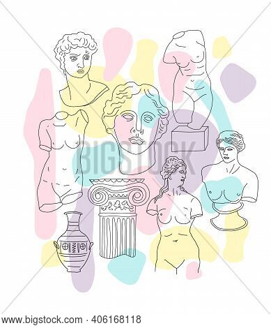 Ancient Greece And Rome Set Tradition And Culture Vector Pattern. The Linear Trend Of The Ancient Pr