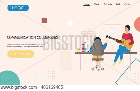 Communication Colleagues Landing Page. Man With Guitar Sitting On Table Near Woman With Laptop, Play