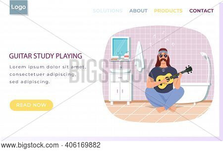 Website About Guitar Study Playing. Male Bard Sits With Ukulele. Person Creates Music In Bathroom. M