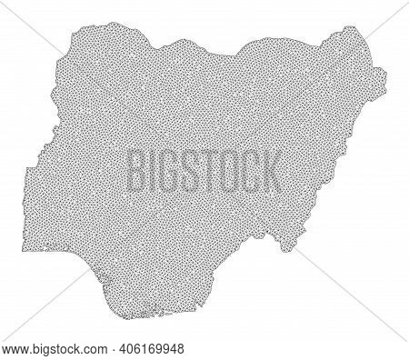Polygonal Mesh Map Of Nigeria In High Detail Resolution. Mesh Lines, Triangles And Points Form Map O