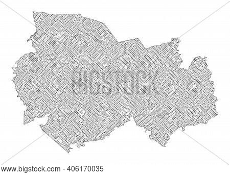 Polygonal Mesh Map Of Novosibirsk Region In High Resolution. Mesh Lines, Triangles And Points Form M