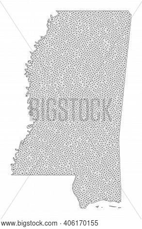 Polygonal Mesh Map Of Mississippi State In High Detail Resolution. Mesh Lines, Triangles And Points