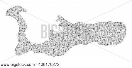 Polygonal Mesh Map Of Grand Cayman Island In High Detail Resolution. Mesh Lines, Triangles And Dots