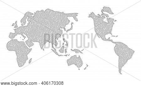Polygonal Mesh Map Of Earth In High Detail Resolution. Mesh Lines, Triangles And Dots Form Map Of Ea