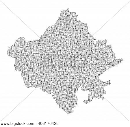 Polygonal Mesh Map Of Rajasthan State In High Resolution. Mesh Lines, Triangles And Points Form Map