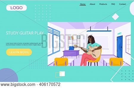 Website About Study Guitar Play. Person Creates Music With Guitar At School. Musician Plays Strings