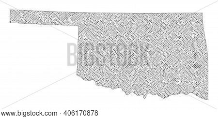Polygonal Mesh Map Of Oklahoma State In High Resolution. Mesh Lines, Triangles And Dots Form Map Of