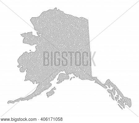 Polygonal Mesh Map Of Alaska State In High Detail Resolution. Mesh Lines, Triangles And Points Form