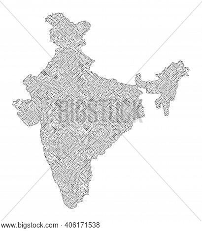 Polygonal Mesh Map Of India In High Resolution. Mesh Lines, Triangles And Dots Form Map Of India. Hi