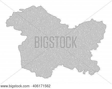 Polygonal Mesh Map Of Jammu And Kashmir State In High Detail Resolution. Mesh Lines, Triangles And P