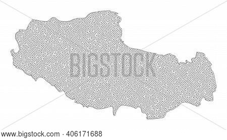Polygonal Mesh Map Of Tibet In High Resolution. Mesh Lines, Triangles And Dots Form Map Of Tibet. Hi