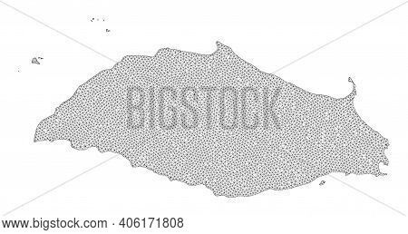 Polygonal Mesh Map Of Isla La Tortuga In High Detail Resolution. Mesh Lines, Triangles And Dots Form