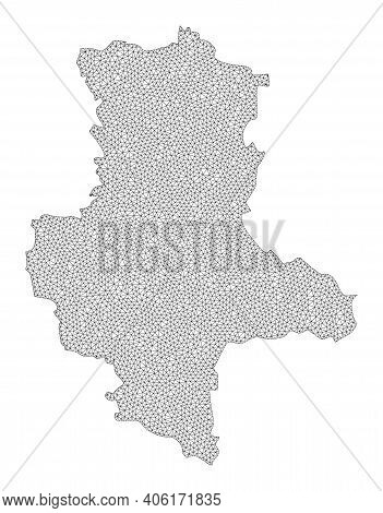 Polygonal Mesh Map Of Saxony-anhalt State In High Detail Resolution. Mesh Lines, Triangles And Point