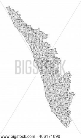 Polygonal Mesh Map Of Kerala State In High Detail Resolution. Mesh Lines, Triangles And Dots Form Ma